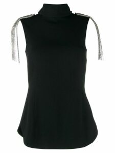 Christopher Kane epaulet detail sleeveless blouse - Black