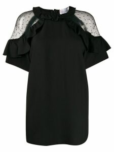 RedValentino sheer panels ruffled blouse - Black