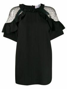 RedValentino sheer panels ruffled blouse - Black