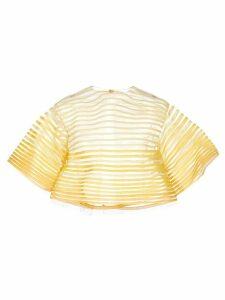 Oscar de la Renta embroidered tulle blouse - Yellow