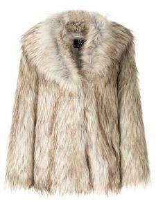 Unreal Fur textured oversized jacket - Brown