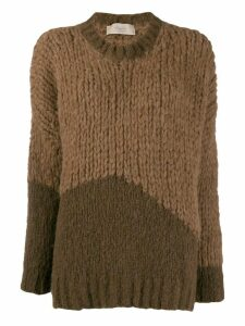 Maison Flaneur two tone jumper - Brown