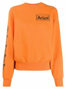 Aries logo print sweatshirt - ORANGE