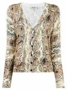 LIU JO snake skin print cardigan - NEUTRALS