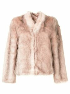 Unreal Fur textured fitted jacket - PINK