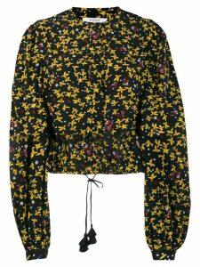 Derek Lam 10 Crosby Aster Cropped Jasmine Floral Blouse - BMU Black