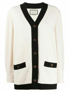 Gucci oversized contrasting trim cardigan - White