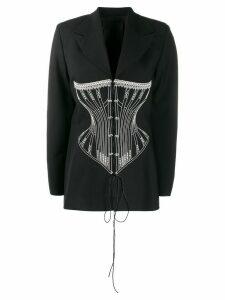 Seen Users corset embroidery blazer - Black