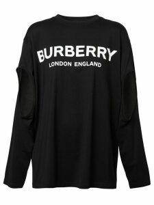 Burberry long-sleeve logo oversized T-shirt - Black