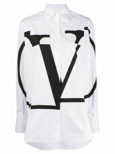 Valentino oversized deconstructed VLOGO shirt - White