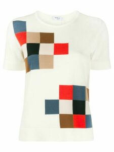 Akris Punto square intarsia knitted top - NEUTRALS