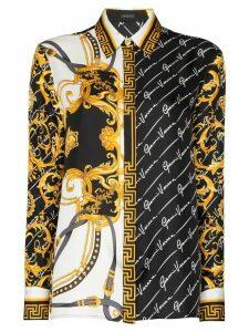 Versace dual-print buttoned shirt - Black