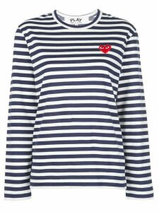 Comme Des Garçons Play striped heart long-sleeve top - Blue
