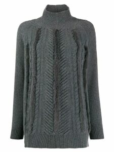 Lorena Antoniazzi faux-fur trimmed jumper - Grey
