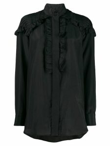 Victoria Beckham pintuck ruffled blouse - Black