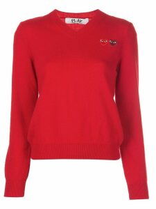 Comme Des Garçons Play knitted v-neck heart jumper - Red