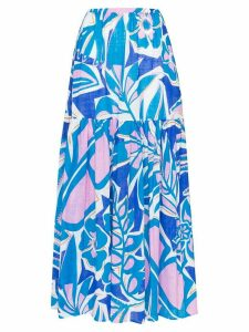 Emilio Pucci floral print tiered maxi skirt - Blue