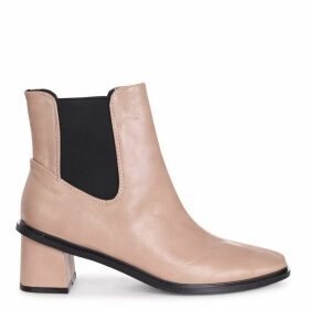 TIME - Beige Nappa Square Toe Chelsea Boot With Block Heel