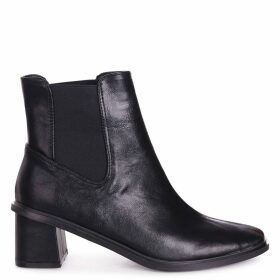 TIME - Black Nappa Square Toe Chelsea Boot With Block Heel