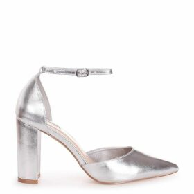 MARLIE - Silver Metallic Court Shoe With Ankle Strap & Block Heel