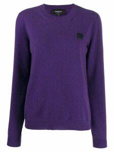 Rochas logo-embroidered sweater - Purple