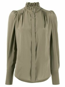 Isabel Marant Lamia ruffle-neck silk shirt - Green