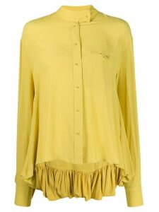 Esteban Cortazar draped back round neck shirt - Yellow