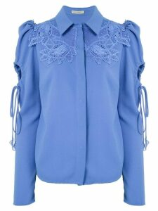 Martha Medeiros Dominique lace appliqué shirt - Blue