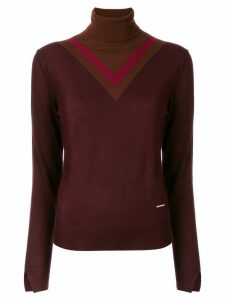Loveless colour-block roll neck jumper - Red