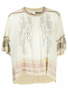 Isabel Marant silk embroidered T-shirt - NEUTRALS
