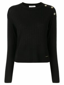 Loveless button shoulder jumper - Black