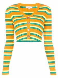 Opening Ceremony cropped striped knitted cardigan - ORANGE