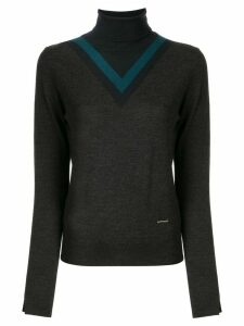 Loveless colour-block roll neck jumper - Black