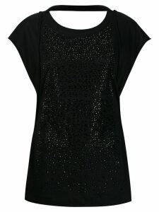 Diesel round neck crystal-embellished T-shirt - Black
