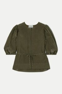 GANNI - Belted Metallic Checked Seersucker Blouse - Army green