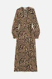 GANNI - Tiger-print Crepe Wrap Midi Dress - Sand