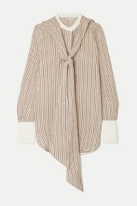 By Malene Birger - Bonnes Tie-neck Striped Cotton-blend Jacquard Blouse - Beige