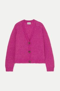 GANNI - Ribbed-knit Cardigan - Fuchsia