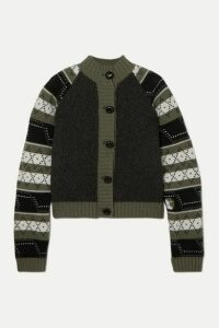 GANNI - Striped Fair Isle Wool-blend Cardigan - Army green