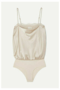 Cami NYC - The Romy Lace-trimmed Stretch-silk Charmeuse And Jersey Bodysuit - Beige