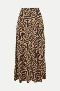 GANNI - Tiger-print Crepe Midi Skirt - Sand