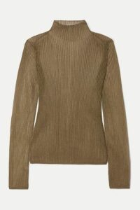 Vince - Metallic Ribbed-knit Turtleneck Top - Bronze