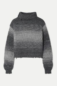 RtA - Beau Cropped Distressed Ombré Cotton Turtleneck Sweater - Gray