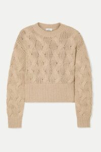 Brunello Cucinelli - Cropped Cable-knit Wool-blend Sweater - Camel