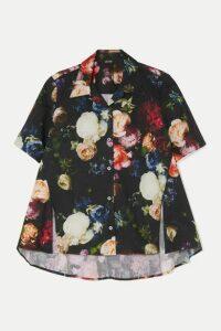 Adam Lippes - Floral-print Cotton-blend Poplin Blouse - Black