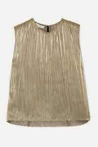 Vince - Pleated Lamé Top - Silver
