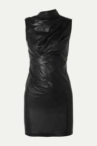 RtA - Holly Ruched Textured-leather Mini Dress - Black