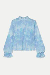 GANNI - Ruffled Floral-print Plissé-georgette Top - Sky blue