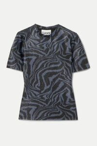 GANNI - Metallic Tiger-print Stretch-jersey Top - Blue