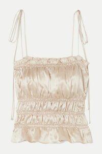 Reformation - Viviana Ruffled Smocked Silk-charmeuse Top - Ivory